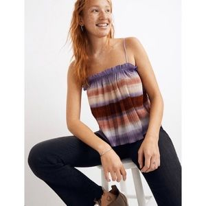 MADEWELL Micropleat Multicolor Stripe Tank Top NWT